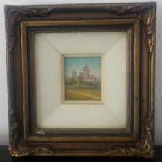 Biserica// ulei pe carton, miniatura