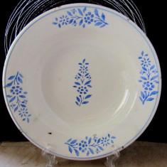 Farfurie veche din caolin Telkibanya(1827-1907).Albastrele. D 22cm/372gr.