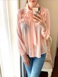 Camasa dama casual roz cu maneca lunga si cordon la gat