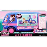 LOL Surprise OMG 4 in 1 Glamper, Set de joca tip rulota cu lumini