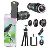 Kit lentile smartphone, 4 in 1, 12X Telephoto, 0.65X Wide angle, Macro, Fish Eye