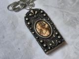 MEDALION argint CONTESA art nouveau FRANTA 1900 rar EXCEPTIONAL pe Lant argint