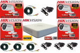 Cumpara ieftin Kit 4 camere supraveghere Turbo HD 720p, IR 20m HikVision + DVR 4 canale HDTVI Turbo HD + Surse + Cablu sertizat