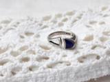 INEL argint cu EMAIL ALBASTRU de efect VECHI rar REGLABIL vintage