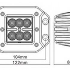 Proiector LED Auto Offroad 18W/12V-24V, 1320 Lumeni, Incastrabil, Flood Beam 90