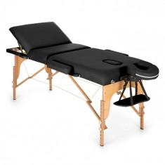 KLARFIT MT 500, negru, masă de masaj, 210 cm, 200 kg, retractabil, finisaj fin, geantă