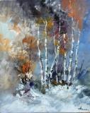 Tablou ulei (25/30 )-IARNA, Flori, Impresionism