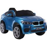 Masinuta electrica cu roti din cauciuc si scaun de piele BMW X6M Blue SP