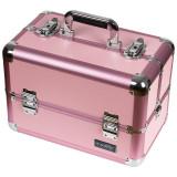 Geanta Manichiura din Aluminiu, Perfect Organizer, Pink - LUXORISE