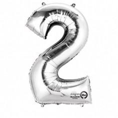 Balon cifra 2 argintie 86 cm