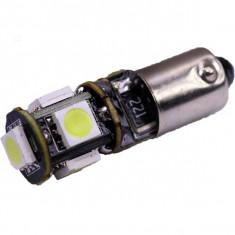 Bec LED BA9S Canbus, 5 SMD 5050 12V, lumina alba