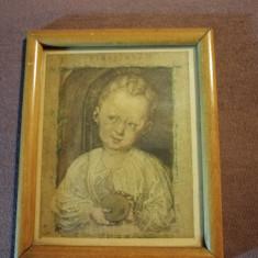 Icoana religioasa litografie veche- rama, sticla 14.5x12 cm