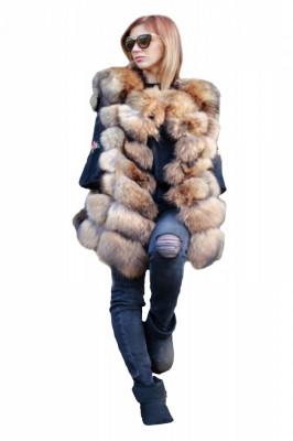 Vesta din blana naturala de vulpe, marimea S foto