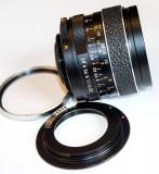 Revuenon auto 2.8 f=35mm, montura pe filet m42, adaptor pt  Canon
