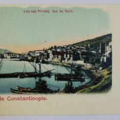 SALUT DE CONSTANTINOPOLE -JLES DES PRINCES , VUE DE HALKI , CARTE POSTALA ILUSTRATA , CROMOLITOGRAFIE , NECIRCULATA , CLASICA