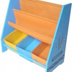 Organizator carti si jucarii Copii cu cadru din lemn Blue Crayon