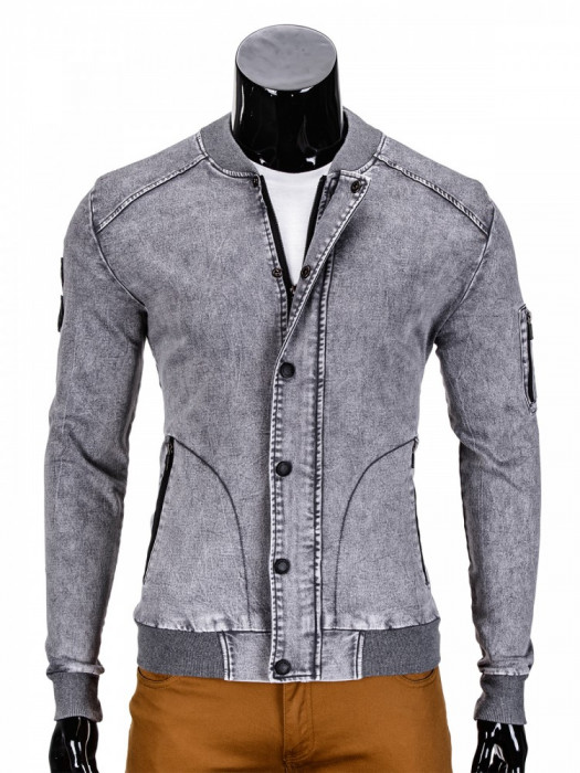Jacheta pentru barbati de blugi cu fermoar si capse gri casual slim fit C240
