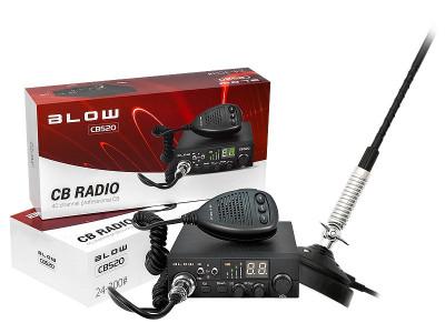 Kit Statie Radio CB Auto Blow CB520 cu Antena Magnetica 66cm Inclusa, 40 Canale, 150W foto