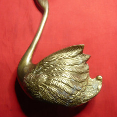 Lebada din bronz -obiect decorativ si suport vechi - h= 19cm