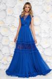 Rochie Ana Radu albastra de lux in clos cu decolteu in v cu aplicatii de dantela accesorizata cu cordon