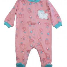 Salopeta / Pijama bebe cu catelusi Z24, 1-2 ani, 1-3 luni, 12-18 luni, 3-6 luni, 6-9 luni, 9-12 luni, Rosu