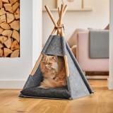 Cumpara ieftin Cort de joaca pentru pisici, din pasla si lemn, Tipi Cat Gri, L44xl42xH45-68 cm