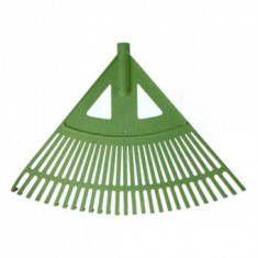 Grebla plastic pentru frunze tip evantai, 27 dinti lamelari, 58cm, verde, fara coada, Strend Pro R130