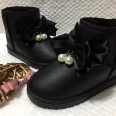 Cizme negre imblanite de iarna piele eco funda perle fete dama 31 33, Din imagine