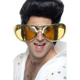 Ochelari giganti Elvis rock'n roll, auriu metalizat, 25 cm, PRC