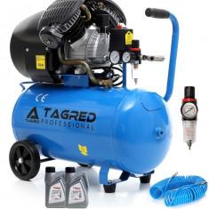 Compresor de Aer cu Ulei Tagred Mobil, in 2 pistoane, 50L, 4.1 CP, 8 Bar, 380L/min + furtun si ulei cadou