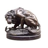 Leul si sarpele-statueta din bronz pe un soclu din marmura KF-14, Animale