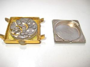3173-Ceas Slava 21 rubine patratic functional sovietic barbatesc metal aurit.