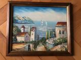Tablou,pictura in ulei pe lemn,peisaj la Mediterana, Marine, Altul