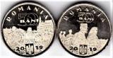 Lot 2 monede comemorative 50 bani 2019 din fisic UNC Ferdinand+regina Maria