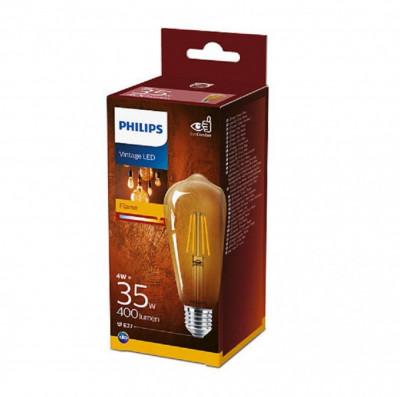 Bec LED Philips 4W (35W) ST64 E27 825 GOLD NDSRT4, alb cald, temperatura culoare 2500K, 400 lumeni, 220-240V, durata de viata 15.000 ore, clasa energe foto