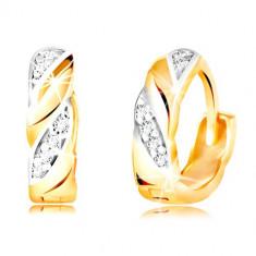 Cercei rotunzi din aur 585 - linii diagonale în două culori, zirconii transparente