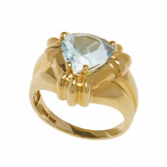 Inel din aur galben 10K cu topaz, circumferinta 57 mm