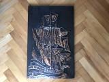 Tablou tema maritima,corabie pe mare,basorelief in cupru