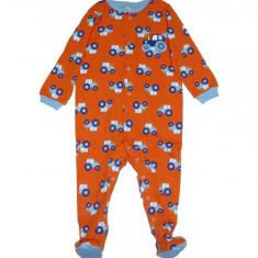 Salopeta / Pijama bebe imprimeu tractorase Z126, 12-18 luni, Orange
