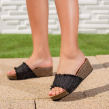 Papuci dama cu platforma negri Sindelia