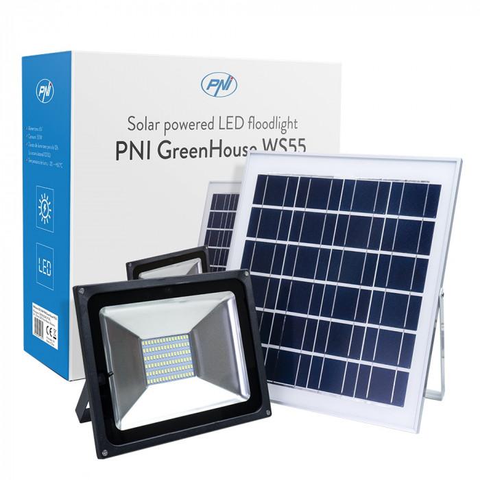 Resigilat : Reflector LED 50W PNI GreenHouse WS55 cu panou solar si acumulator