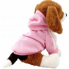 Hainuta cu gluga si fermoar pentru catei, marimea M, roz