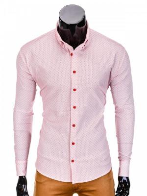 Camasa pentru barbati, rosu, cu guler, slim fit, elastica, bumbac - K392 foto