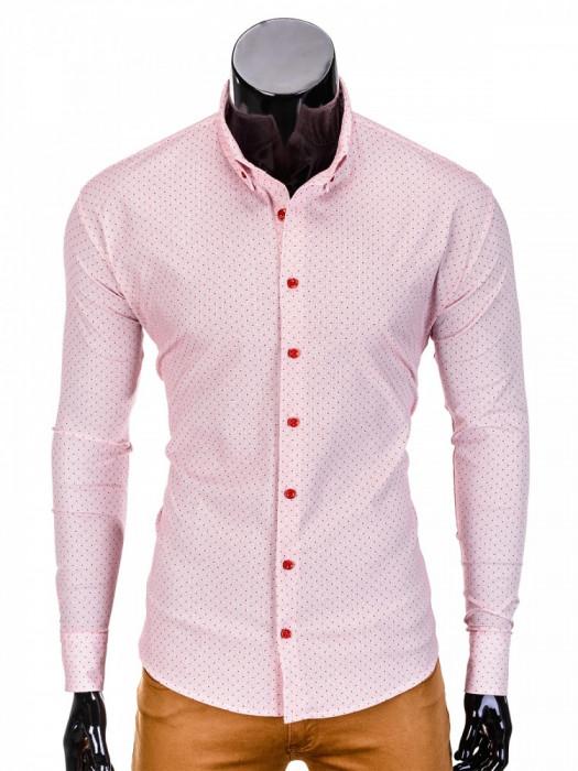 Camasa pentru barbati, rosu, cu guler, slim fit, elastica, bumbac - K392