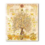 Tablou Feng Shui cu Copacul prosperitatii, pepite, monede i Ching