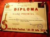 Diploma Premiul I -Fundatia Romana de Chitara-Festival Internat.Sinaia2016