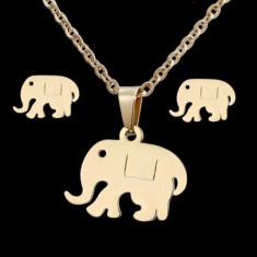 set inox elefantei cercei si colier cu pandant