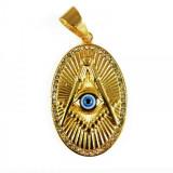 Cumpara ieftin Pandantiv masonic Auriu - Echer, Compas si Ochiul Atotvazator - MM744