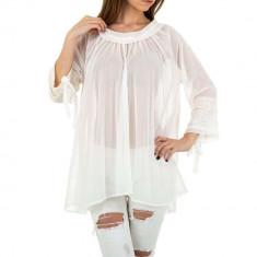 Bluza transparenta, vaporoasa, de culoare alba, M/L, S/M, Alb