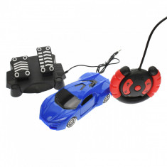 Masinuta de jucarie cu radiocomanda tip volan, pedale, albastra - 28035A